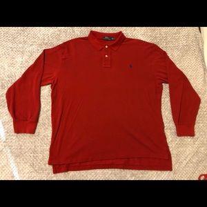 Polo Ralph Lauren Long Sleeve Red Button T-Shirt
